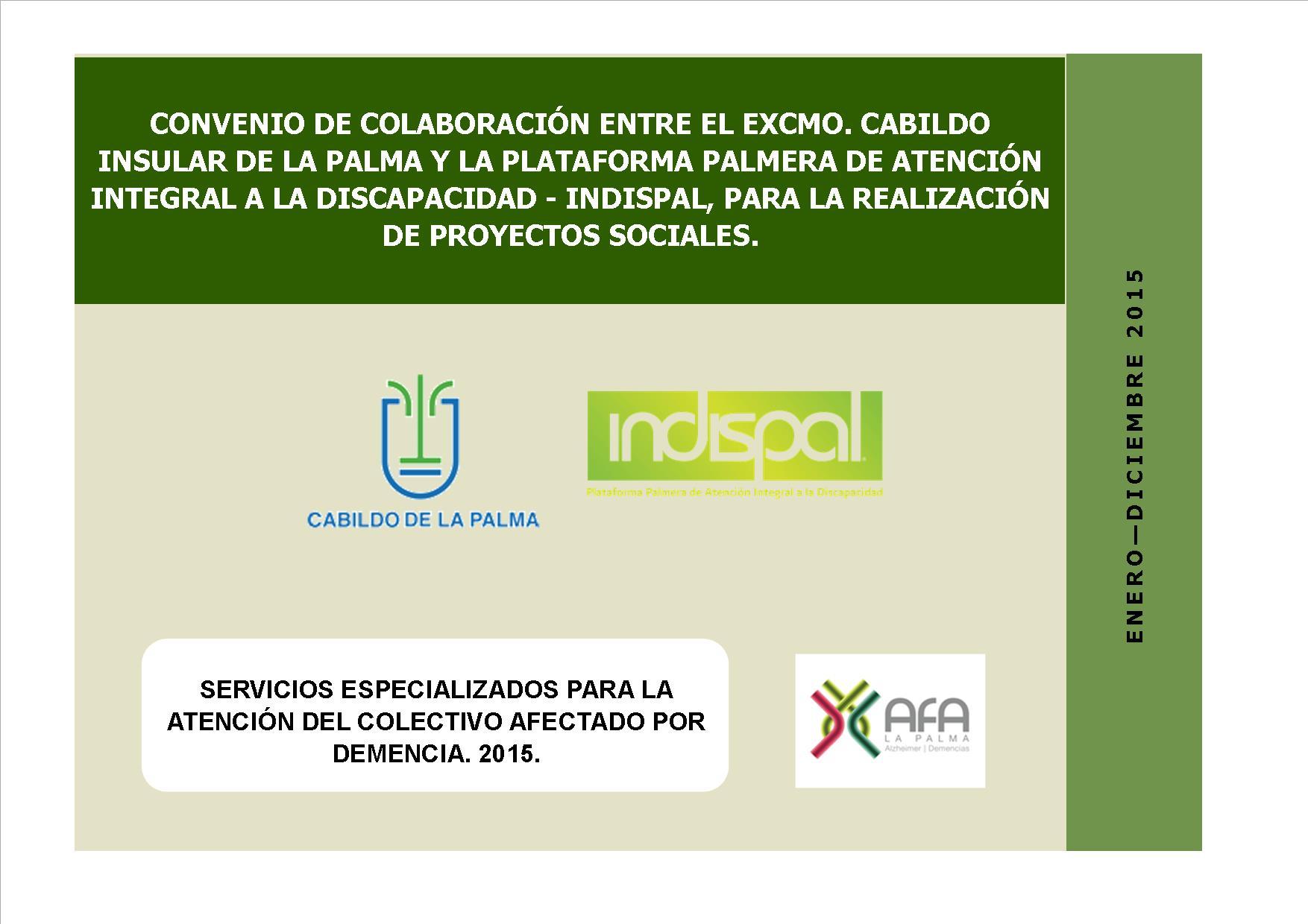 Cartel convenio colaboración Cabildo Indispal 2015
