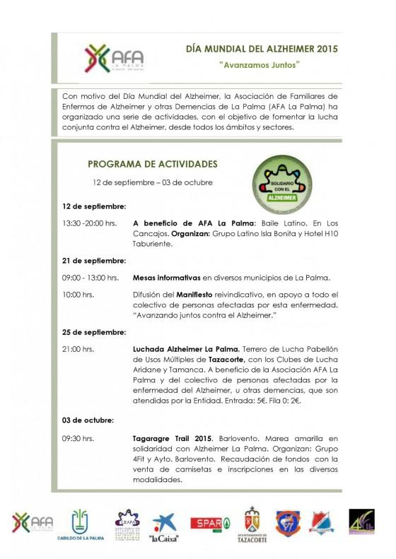 AFA La Palma: Día Mundial del Alzheimer 2015. Programa deactividades.
